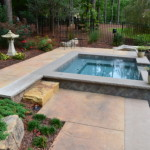 pool and patio with landscaping