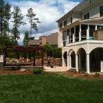 Cary pergola, patio, pavers, fireplace