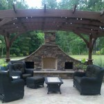 Cary pergola and fireplace